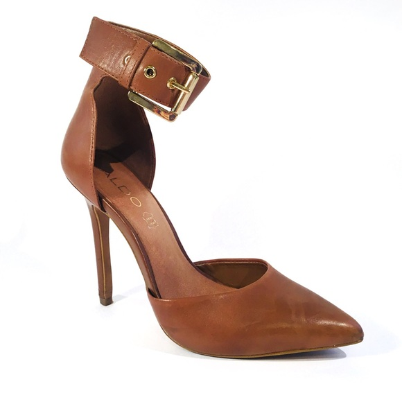 801b5922b3 Aldo Shoes | Brown Pointed Toe Ankle Strap High Heels | Poshmark